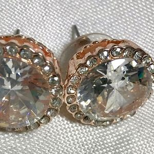 Rhinestone Bling Round Rose Faux Gold Stud Earring
